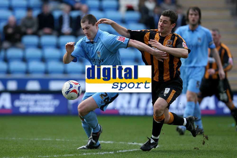 Photo: Pete Lorence.<br />Coventry City v Hull City. Coca Cola Championship. 03/03/2007.<br />Coventry's Colin Hawkins evades Nicky Forster.