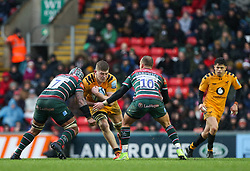 Jack Willis of Wasps runs at the Leicester Tigers defence - Mandatory by-line: Arron Gent/JMP - 15/02/2020 - RUGBY - Welford Road Stadium - Leicester, England - Leicester Tigers v Wasps - Gallagher Premiership Rugby