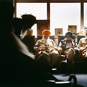 Elderly Sikh men gather at a temple in Leicester city. Leicester has one of the largest Sikh populations in the world outside India. ..Leicester is expected to be the first city in the UK to have a majority non-white population within the next few years. It is one of the most ethnically-diverse cities in Europe. ....Picture taken April 2005 by Justin Jin
