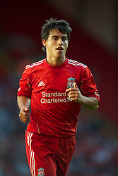 LIVERPOOL, ENGLAND - Wednesday, August 17, 2011: Liverpool's 'Suso' Jesus Fernandez Saez in action against Sporting Clube de Portugal during the first NextGen Series Group 2 match at Anfield. (Pic by David Rawcliffe/Propaganda)