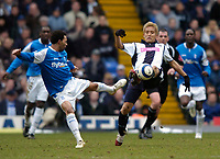 Photo: Richard Lane.<br />Birmingham City v West Bromwich Albion. The Barclays Premiership. 11/03/2006. <br />Birmingham's Jermaine Pennant (L) is challenged by West Brom's Junichi Inamoto.
