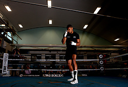 Anthony Joshua in action during the media session at the English institute of Sport, Sheffield.