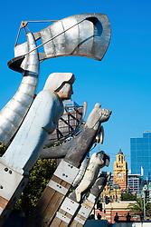 Enterprize Landing Memorial public art installation on Yarra River Melbourne Australia