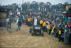 Joshua Mullican riding onto the beach in his hotrod at TROG West - The Race of Gentlemen. Pismo Beach, CA, USA. Saturday October 15, 2016. Photography ©2016 Michael Lichter.