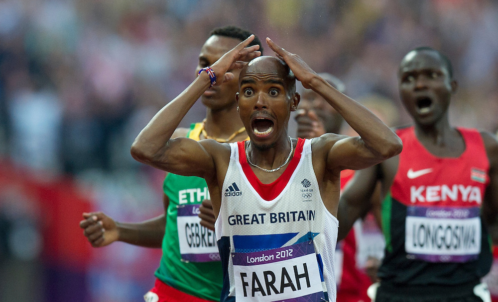 Britain's Mohamed Farah wins the men's 5000m final at the London 2012 Olympic Games Athletics, Track and Field events at the Olympic Stadium, London, Britain, 11 August 2012. BOGDAN MARAN / MEDIAFAX FOTO for BPA