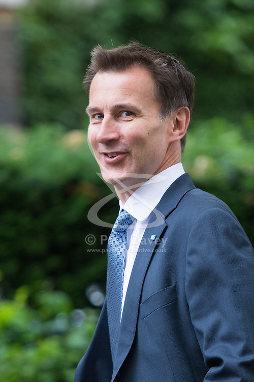 Downing Street,  London, June 27th 2015. Health Secretary Jeremy Hunt arrives for the first post-Brexit cabinet meeting at 10 Downing Street
