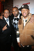 """l to r: Dr. Ben Chavis, Londell McMillan and Russell Simmons at The Russell Simmons and Spike Lee  co-hosted""""I AM C.H.A.N.G.E!"""" Get out the Vote Party presented by The Source Magazine and The HipHop Summit Action Network held at Home on October 30, 2008 in New York City"""
