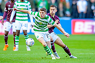 Ryan Christie(#17) of Celtic FC holds off Olly Lee (#8) of Heart of Midlothian during the Betfred League Cup semi-final match between Heart of Midlothian FC and Celtic FC at the BT Murrayfield Stadium, Edinburgh, Scotland on 28 October 2018.