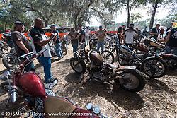 Judging at Harley Davidson's Editor's Choice Bike Show at the Broken Spoke Saloon during Daytona Bike Week 75th Anniversary event. FL, USA. Wednesday March 9, 2016.  Photography ©2016 Michael Lichter.