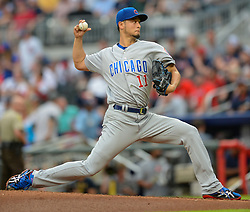 May 15, 2018 - Atlanta, GA, U.S. - ATLANTA, GA Ð MAY 15:  Cubs starting pitcher you Darvish (11) throws a pitch to the plate during the game between Atlanta and Chicago on May 15th, 2018 at SunTrust Park in Atlanta, GA. (Photo by Rich von Biberstein/Icon Sportswire) (Credit Image: © Rich Von Biberstein/Icon SMI via ZUMA Press)