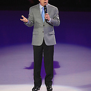 Olympic Champion skater Scott Hamilton talks to the crowd prior to the Stars on Ice Figure Skating tour stop at the Amway Center on Sunday, April 6, 2014 in Orlando, Florida. (AP Photo/Alex Menendez)