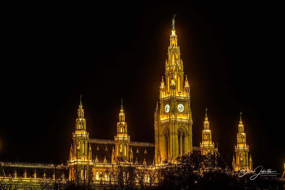 Vienna City Hall at night, Vienna, Lower Austria, Austria