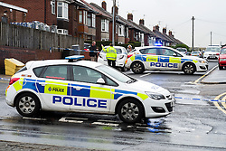 Police Block Avisford Rd leading onto the Halifax Rd crime scene, stretching from Kilner way to Southey Green Rd. Locals information say the crime was a stabbing.<br /> <br /> 29 October 2015<br />  Image © Paul David Drabble <br />  www.pauldaviddrabble.co.uk