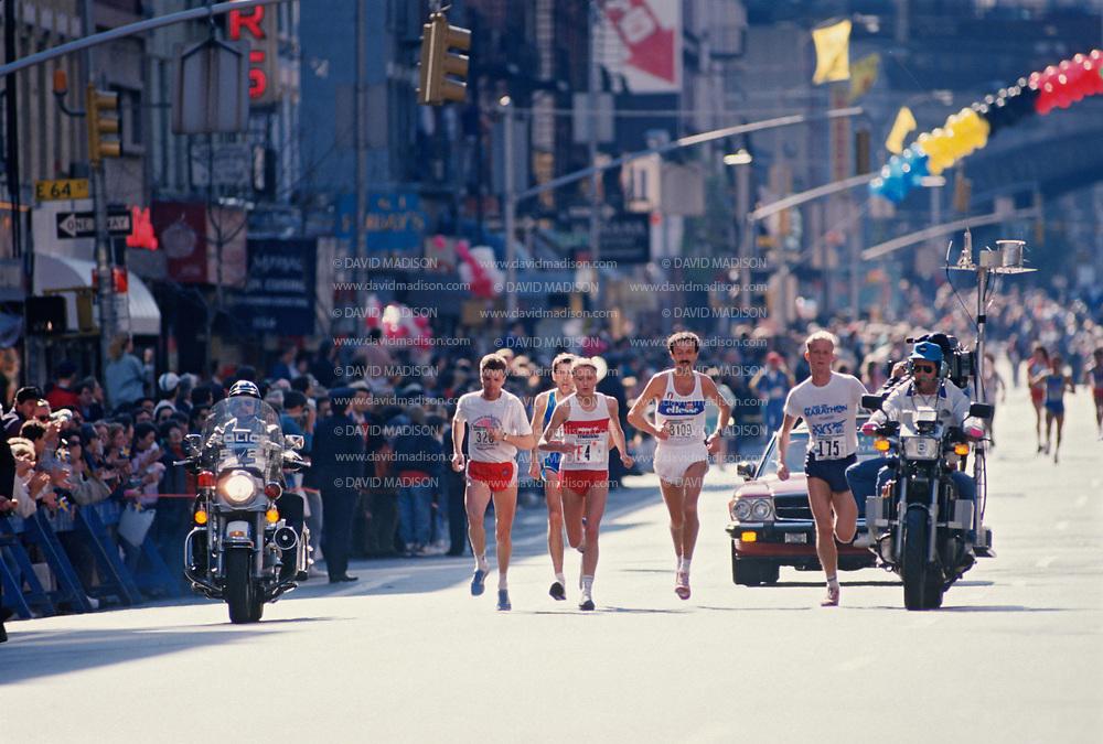 NEW YORK -  NOVEMBER 6:  Grete Waitz #F4 of Norway runs on 1st Avenue in Manhattan on her way to winning the 1988 New York City marathon held on November 6, 1988 in New York, New York.  (Photo by David Madison/Getty Images) *** Local Caption *** Grete Waitz