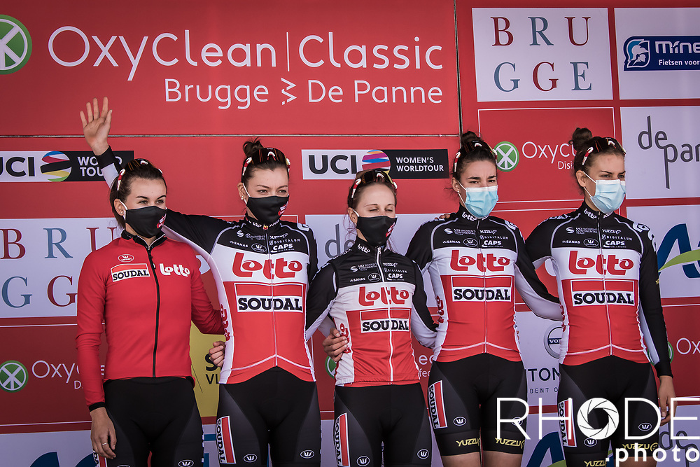 Team Lotto Soudal Ladies, pre race, team presentation<br /> <br /> Oxyclean Classic Brugge-De Panne 2021 (WE/1.WWT) - Belgium<br /> 1 day race from Brugge to De Panne (159km)<br /> <br /> ©RhodePhoto