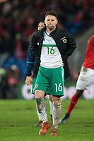 Northern Ireland's Oliver Norwood looks dejected <br /> <br /> Photographer Craig Mercer/CameraSport<br /> <br /> 2018 FIFA World Cup play-off Round 2 - 2nd Round - Second leg - Switzerland v Northern Ireland - Sunday 12th November 2017 - St. Jakob-Park - Basel - Switzerland<br /> <br /> World Copyright © 2017 CameraSport. All rights reserved. 43 Linden Ave. Countesthorpe. Leicester. England. LE8 5PG - Tel: +44 (0) 116 277 4147 - admin@camerasport.com - www.camerasport.com