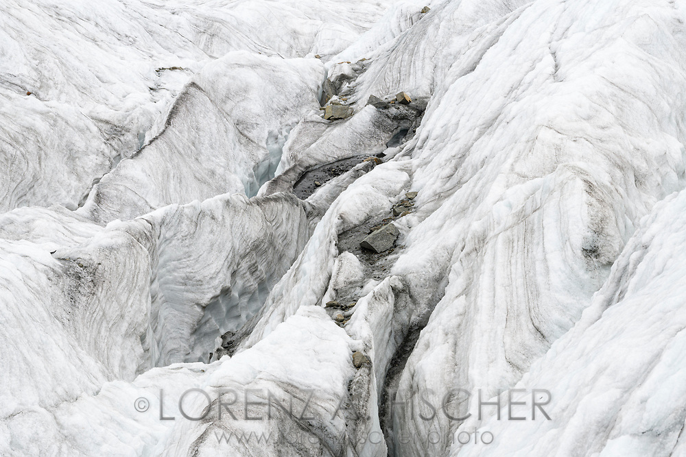 Ice structures, walls and crevasses of the Morteratsch glacier, Pontresina, Grisons, Switzerland