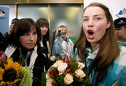 Slovenian 2-times silver medalist alpine skier Tina Maze and her mother Sonja (L) at arrival to Airport Joze Pucnik from Vancouver after Winter Olympic games 2010, on February 28, 2010 in Brnik, Slovenia. (Photo by Vid Ponikvar / Sportida)