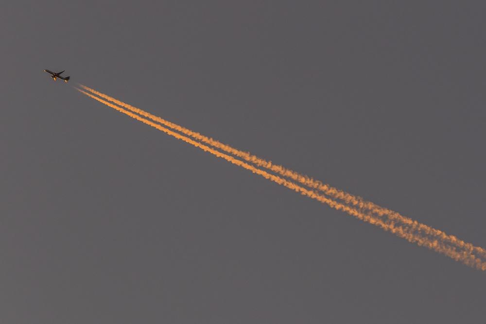 October 12, 2017: A jet overflies Morton Overlook during sunset. (www.douglasjonesphotography.com)