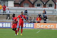 Vadaine Oliver of York city (R) celebrates after he scores his teams 3rd goal. Skybet football league two match, Newport county v York city at Rodney Parade in Newport, South Wales on Saturday 5th Sept 2015.  pic by Andrew Orchard, Andrew Orchard sports photography.