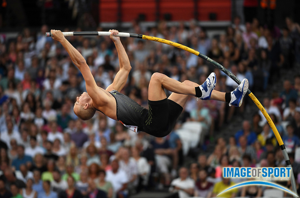 Jul 22, 2016; London, United Kingdom; Sam Kendricks (USA) places second in the pole vault at 19-1 1/2 (5.83m) in the London Anniversary Games during an IAAF Diamond League meet at Olympic Stadium.