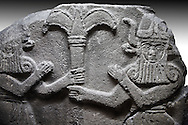 Picture & image of a Neo-Hittite orthostat with a releif sculpture of Bull Men from The legend of Gilgamesh , Karkamis, Turkey. An Ankara Museum of Anatolian Civilizations exhibit.