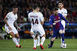 April 4, 2018 - Barcelona, Catalonia, Spain - April 4, 2018 - Barcelona, Spain - Uefa Champions League Quarter final first leg, FC Barcelona v AS Roma: Leo Messi of FC Barcelona dribbles Kostas Manolas of Roma. (Credit Image: © Marc Dominguez via ZUMA Wire)