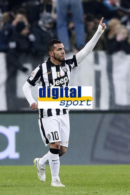 esultanza gol Carlos Tevez Goal celebration <br /> Torino 07-02-2015, Juventus Stadium, Football Calcio 2014/2015 Serie A, Juventus - Milan, Foto Image Sport/Insidefoto