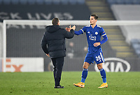 Football - 2020 / 2021 Europa League - Group G - Leicester City vs Sporting Braga - King Power Stadium<br /> <br /> Leicester City manager Brendan Rodgers with Dennis Praet.<br /> <br /> COLORSPORT/ASHLEY WESTERN