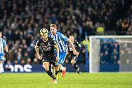 Brighton and Hove Albion (6) Dale Stephens, Crystal Palace #10 Andros Townsend during the Premier League match between Brighton and Hove Albion and Crystal Palace at the American Express Community Stadium, Brighton and Hove, England on 28 November 2017. Photo by Sebastian Frej.