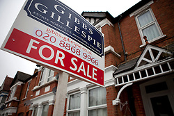 © Licensed to London News Pictures. File pic 27/02/2012. London, UK.  British house prices are rising at their fastest pace in seven years, according to an industry survey. Pictured - Property 'For Sale' signs and boards around North West London on 27 February 2012. Photo credit : Rich Bowen/LNP