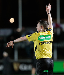 Referee Dan Jones awards a penalty <br /> <br /> Photographer Simon King/Replay Images<br /> <br /> Guinness Pro14 Round 12 - Dragons v Cardiff Blues - Sunday 31st December 2017 - Rodney Parade - Newport<br /> <br /> World Copyright © 2017 Replay Images. All rights reserved. info@replayimages.co.uk - http://replayimages.co.uk