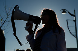 © under license to London News Pictures.  08/12/2010 A student speaks to the people gathered in protest. Students from all over Plymouth gather in the city centre to demonstrate against the proposed increase in fees today (Wednesday). Photo credit should read: David Hedges/London News Pictures