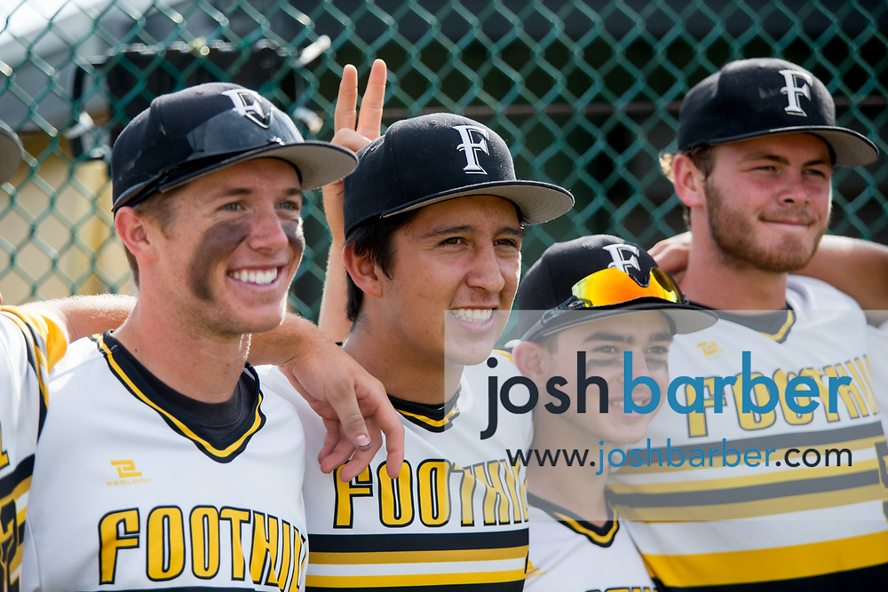 Foothill's Trevor Lukkes, Peter Alvarez, Bailey Gutierrez and Cage Massey during a Crestview League game at Foothill High School on Friday, May 5, 2017 in North Tustin, Calif. Foothill won 4-2. (Photo by Josh Barber, Contributing Photographer)