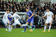 Nemanja Matic of Chelsea makes a break. Barclays Premier League match, Swansea city v Chelsea at the Liberty Stadium in Swansea, South Wales on Saturday 17th Jan 2015.<br /> pic by Andrew Orchard, Andrew Orchard sports photography.