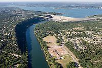 Aerial of Mansfield Dam, forming Lake Travis on the Colorado River near Austin, Texas.