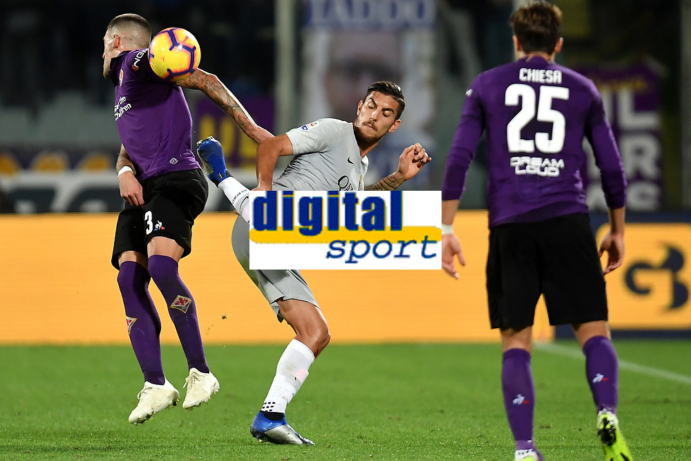 Cristiano Biraghi of Fiorentina and Lorenzo Pellegrini of AS Roma compete for the ball  during the Serie A 2018/2019 football match between ACF Fiorentina and AS Roma at stadio Artemio Franchi, Firenze, November 03, 2018 <br />  Foto Andrea Staccioli / Insidefoto