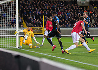 Football - 2019 / 2020 UEFA Europa League - Round of Thirty-Two, First Leg: Club Bruges vs. Manchester United<br /> <br /> Sergio Romero (Manchester United) saves from Emmanuel Dennis (Club Brugge) to prevent his team  slipping behind at Jan Breydel Stadium.<br /> <br /> COLORSPORT/DANIEL BEARHAM