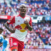 HARRISON, NEW JERSEY- JULY 24: Bradley Wright-Phillips #99 of New York Red Bulls celebrates after scoring his sides first goal during the New York Red Bulls Vs New York City FC MLS regular season match at Red Bull Arena, Harrison, New Jersey on July 24, 2016 in Harrison, New Jersey. (Photo by Tim Clayton/Corbis via Getty Images)