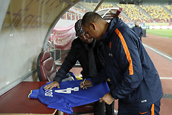 assistant trainer Ruud Gullit of Holland signs a shirt during a training session prior to the friendly match between Romania and The Netherlands on November 13, 2017 at Arena National in Bucharest, Romania