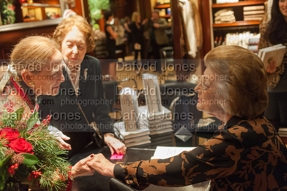 MRS. MICHAEL FULFORD-BOBSON; MRS. ALAN CAMPBELL JOHNSON;  LADY PAMELA HICKS; , Book launch for ' Daughter of Empire - Life as a Mountbatten' by Lady Pamela Hicks. Ralph Lauren, 1 New Bond St. London. 12 November 2012.