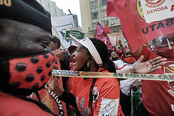 SouthAfrica - Cape Town - 7 October 2020 - Union members fromCosatu, Fedusa, Saftu and Nactu have joined forces to protest against what they consider a failed government that has overseen the repression of workers. The march started at the Civic Centre where they delivered a memorandum of demands and then moved to the Provincial Legislature and finished at National Parliament. Photographer: Armand Hough/African News Agency(ANA)