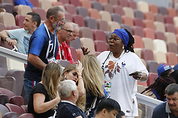 Father of Antoine Griezmann, Alain Griezmann kissing Yeo Pogba the mother of Paul Pogba during the 2018 FIFA World Cup Russia game, France vs Denmark in Luznhiki Stadium, Moscow, Russia on June 26, 2018. France and Denmark drew 0-0. Photo by Henri Szwarc/ABACAPRESS.COM