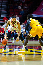 NORMAL, IL - February 15: Lijah Donnelly held near half court defended by Daniel Sackey during a college basketball game between the ISU Redbirds and the Valparaiso Crusaders on February 15 2020 at Redbird Arena in Normal, IL. (Photo by Alan Look)