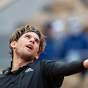 PARIS, FRANCE October 06. Dominic Thiem of Austria in action against Diego Schwartzman of Argentina in the Quarter Finals of the singles competition on Court Philippe-Chatrier during the French Open Tennis Tournament at Roland Garros on October 6th 2020 in Paris, France. (Photo by Tim Clayton/Corbis via Getty Images)