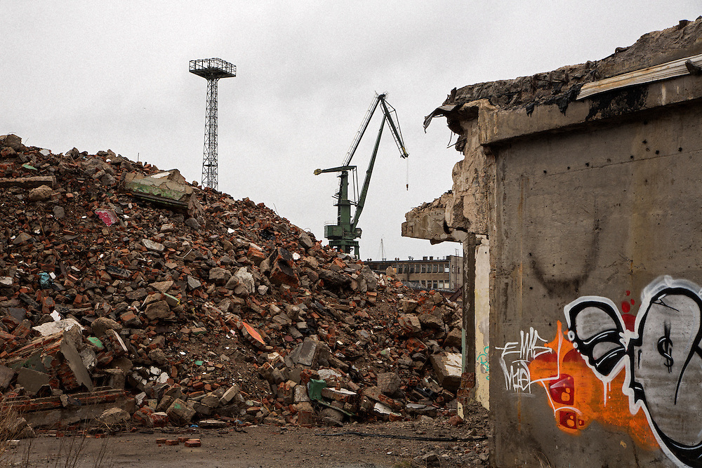 An area under development near the old Gdansk shipyards, a controversy amongst local activists who hope to preserve historic brick buildings and multiple cranes.<br /> <br /> Gdansk and Remontowa Shipyards