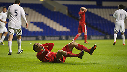 LONDON, ENGLAND - Wednesday, February 1, 2012: Liverpool's Adam Morgan collapses dejected after missing a chance to equalise in injurt time against Tottenham Hotspur during the NextGen Series Quarter-Final match at White Hart Lane. Liverpool lost 1-0. (Pic by David Rawcliffe/Propaganda)