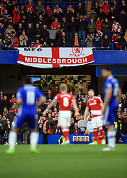 8 May 2017 - Premier League - Chelsea v Middlesbrough - Middlesbrough fans drape a banner at the Shed End of Stamford Bridge - Photo: Marc Atkins / Offside.