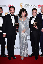 (left to right) Ant McPartlin, Joan Collins and Declan Donnelly in the press room at the Virgin TV British Academy Television Awards 2017 held at Festival Hall at Southbank Centre, London. PRESS ASSOCIATION Photo. Picture date: Sunday May 14, 2017. See PA story SHOWBIZ Bafta. Photo credit should read: Ian West/PA Wire