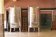Stainless steel fermentation and storage tanks. Kantina Miqesia or Medaur winery, Koplik. Albania, Balkan, Europe.